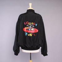 90s LOONEY TUNES Silk BOMBER / Oversized 1990s Black Oversized Satin Logo Jacket