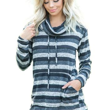 Charcoal Multicolor Cowl Neck Striped Long Sleeve Sweatshirt