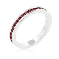 Stylish Stackables with Garnet CZ Ring