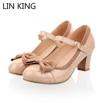 ONETOW LIN KING New Princess Lolita Bowtie Cute Sweet Japanese Women Shoes Cosplay Maid Anim