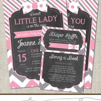 Bow Baby Shower Invitation, Pink Bow Baby Shower Invitation, Bow