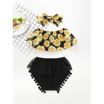 Kids Sunflower Top & Lace Layer Shorts Set