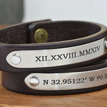 Personalized Couples Set - 2x Leather Bracelets- Perfect Valentines Boyfriend or Girlfriend Gift- Handcrafted in USA