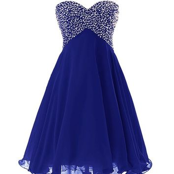 Dressystar Sweety Girls Cocktail Homecoming Gowns Prom Pageant Dress Lace-up Size 14 Royal blue