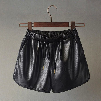 Summer Stretch PU Leather Shorts [4919987524]