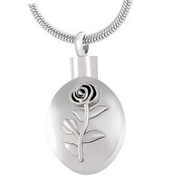 """Stainless Steel """"Rose"""" Urn Necklace"""