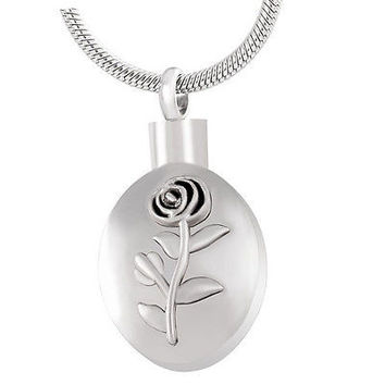 "Stainless Steel ""Rose"" Urn Necklace"