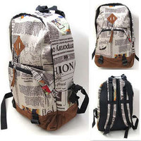 Fashion Men Girls Unisex Newspaper Print Canvas Backpack School Bag Shoulder New