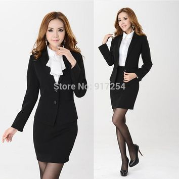 New Elegant Black 2015 Femininos Professional Business Work Wear Suits For Women Skirt Suits Beautician Uniforms Office Ladies