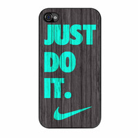 Nike Just Do It Wood Colored Darkwood Wooden Fdl iPhone 4 Case