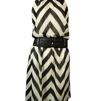 Guess Women's 'Kylie' Belted Chevron Halter Dress