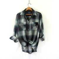 Vintage green Plaid Flannel / Grunge Shirt / cotton button up shirt