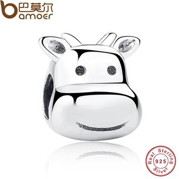925 Sterling Silver Water Buffalo Children Cute kits Charms fit original Bracelets Animal Jewelry Accessories PAS197