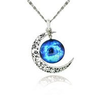 Jiayiqi Women Hollow Out Crescent Moon Galactic Universe Cabochon Pendant Necklace Gift