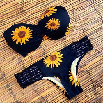 Sexy Sunflower Swimsuit Women Summer Bikini Set Padded Bra Swimwear Women  Bathing Suit Beach