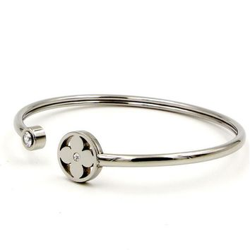 LV Louis Vuitton Trending Ladies Titanium Steel Jewelry Single Drill Small Flower Round Little Twist Bracelet Simple Accessories Silver