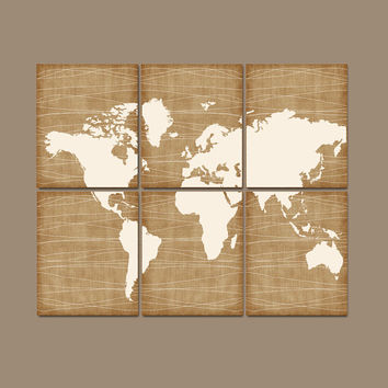 WORLD MAP Wall Art CANVAS or Prints Bedroom Home Grunge Effect Custom Colors Desk Office Library Room Set of 6