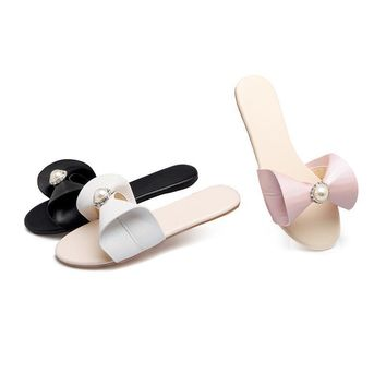 New Fashion Summer Bling Pearl Flat Flip Flop Slippers For Women size 3 - 12