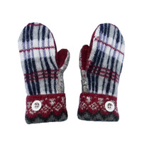 Plaid Sweater Mittens - Wool Mittens for Women Navy Burgundy Maroon White Recycled Mittens - Gift Handmade in Wisconsin by Sweaty Mitts