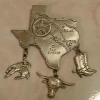 JJ Large Pewter Texas Brooch Boots Rodeo Spurs Longhorn Star
