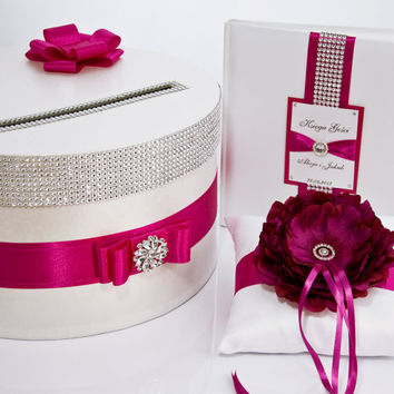 Wedding set - card box, ring pillow, guest book