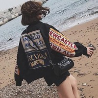 """Adidas"" Women Loose Casual Personality Multicolor Letter Long Sleeve Zip Cardigan Coat"