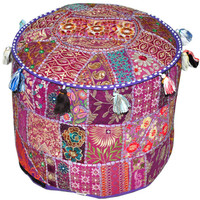 Purple Bohemian Vintage Patchwork Indian Pouf Large Round Ottoman Seat Embroidered Pouffe round cotton stool chair bench foot stool pouffe