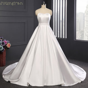 2016 New Long Wedding Dress Robe de mariage Romantic Sweetheart Neck Chapel Train A-Line Satin Bride Dresses Bow at Back Custom