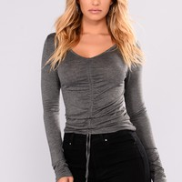 Lara Shirred Front Top - Charcoal Grey