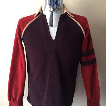 Vintage Men's 70's Shirt, Brown, Rust, Tan, Long Sleeve, Pull Over (S)