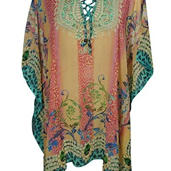 Women's Arianna Caftan Dress Adjustable Neck Summer Yellow Bikini Cover Up One Size