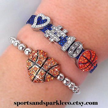 Personalized Jersey Number Bling Sports Bracelet with Heart and Rhinestone Sports Charm and Stretch Basketball Bracelet Set