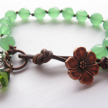 Chunky Knotted Bracelet, Brown leather, Layering, Stacking Bracelet, Jade Opal, Elephant charm
