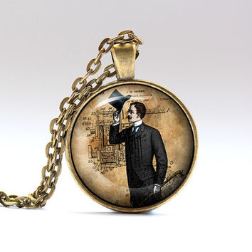Gentleman necklace Steampunk pendant Victorian jewelry SNW20