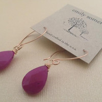 Emily Somers- 'Bev' Rose Gold Fill Earrings with Orchid Briolette