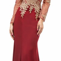 Floor Length Illusion Prom Dress Burgundy Jewel Bodice Long Sleeves (3 Colors Available)