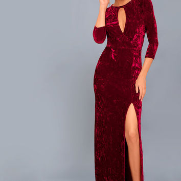 Keep Love Alive Wine Red Velvet Maxi Dress