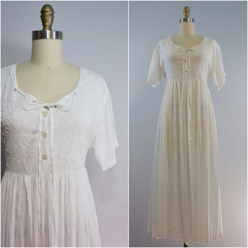 Vintage White Cotton Embroidered Gauzy Broomstick Skirt Dress