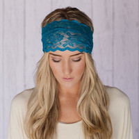 Teal Blue Lace Headband Wide Lace Stretchy Head Band Hair Band for Women
