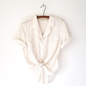 Vintage 80s Ivory Silk Button Down Blouse