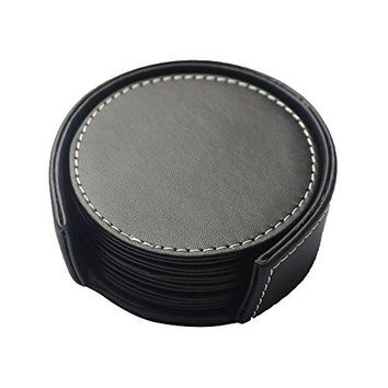 PINMEI Black Leather Drink Coasters with Holder Set of 6 Round 39inch