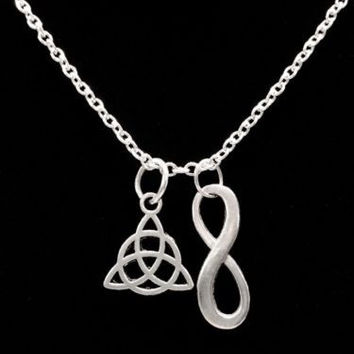 Infinity Celtic Knot Trinity Triquetra Eternity Religious Charm Necklace