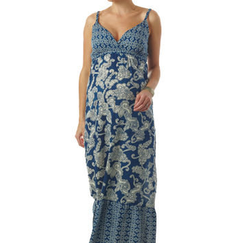 Seraphine Matilda Bohemian Printed Maternity And Nursing Maxi Dress - Blue