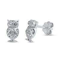 Small 8mm Sterling Silver CZ Tiny Owl Stud Earrings