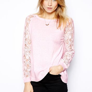 With Raglan Lace Sleeve