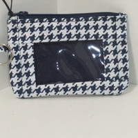 ID Wallet, Coin Purse, Zipper Closure, Made With Navy and White Houndstooth