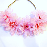 PINK Flower Crown, Flower Headband, Boho Headband, Pink Hair Accessory
