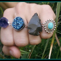 druzy, ring, crystal, stone, arrowhead, amethyst, grunge, hipster, statement , gemstone, turquoise, boho, gypsy, bohemian, adjustable, rings