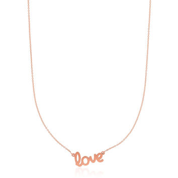 Cursive Love Scripted Sweetheart Necklace in 14k Rose Gold