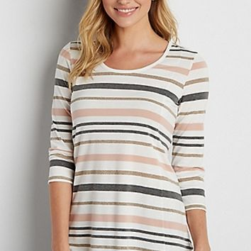 the 24/7 swing tee with metallic stripes | maurices